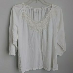 CHICO'S COTTON WHITE TOP SIZE LARGE